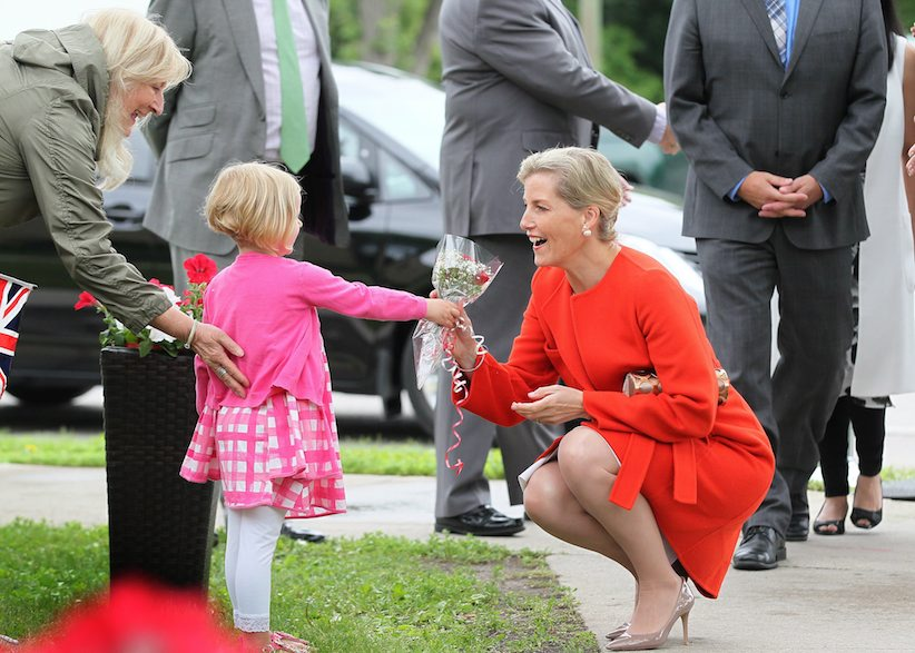 Sophie, Countess of Wessex, receives flowers from three-year-old Lena Bradshaw and her grandmother Mary during a visit to Deer Lodge Centre, a veterans hospital, in Winnipeg, Wednesday, June 22, 2016. Sophie and her husband Prince Edward, Earl of Wessex, spent the day in Winnipeg with local dignitaries and took part in such things as a tour of the Royal Aviation Museum of Western Canada and presiding over the Duke of Edinburgh Awards. THE CANADIAN PRESS/John Woods
