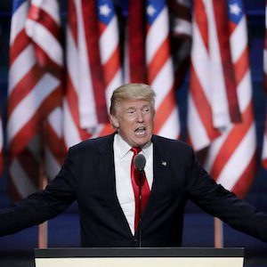 Republican Presidential Candidate Donald J. Trump, speaks during the final day of the Republican National Convention in Cleveland, Thursday, July 21, 2016. (AP Photo/J. Scott Applewhite)