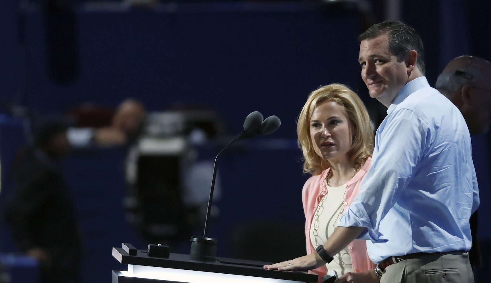 Sen. Ted Cruz, R-Tex., and wife Heidi look over the convention floor during a sound check before the third day of the Republican National Convention in Cleveland, Wednesday, July 20, 2016. (AP Photo/Paul Sancya)