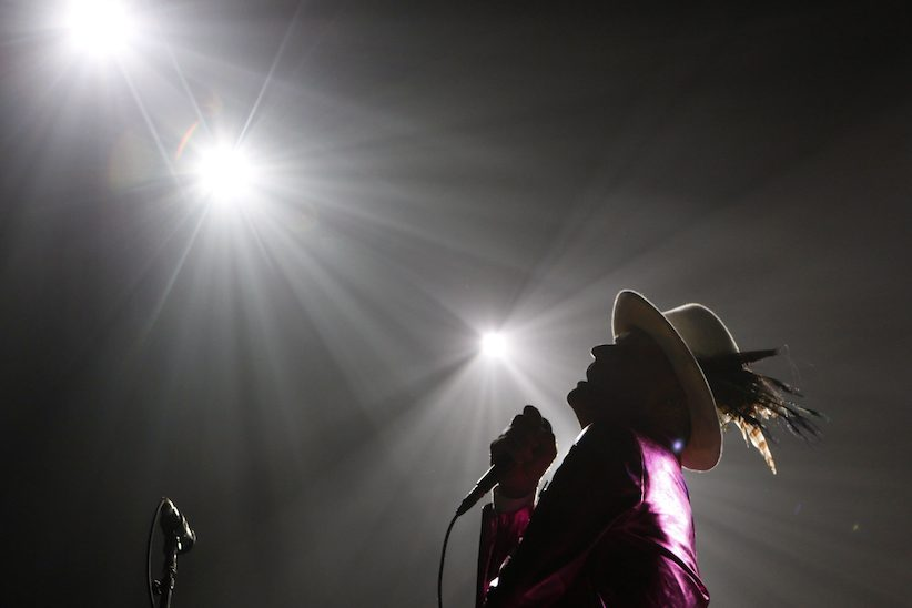 The Tragically Hip's Gord Downie, performs during the first stop of the Man Machine Poem Tour at the Save-On-Foods Memorial Centre in Victoria, B.C., Friday, July 22, 2016. THE CANADIAN PRESS/Chad Hipolito