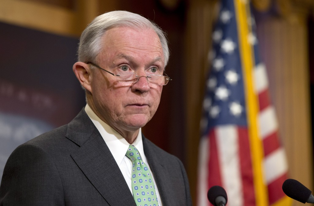 FILE - In this June 23, 2016, file photo, Sen. Jeff Sessions, R-Ala. speaks during a news conference on Capitol Hill in Washington, to discuss the Supreme Court's immigration ruling. Republican Donald Trump has narrowed down his vice presidential shortlist to a handful of contenders that he's met with including Sessions. (AP Photo/Alex Brandon, File)