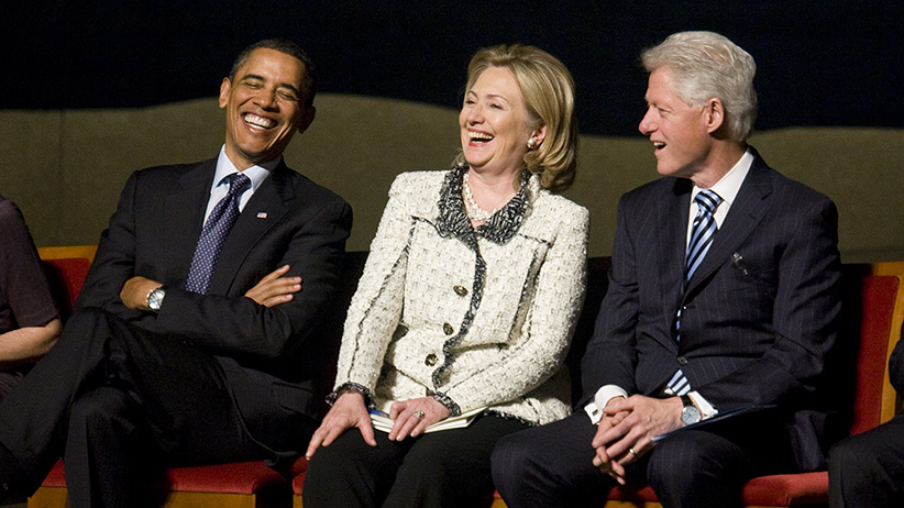 U.S. President Barack Obama, U.S. Secretary of State Hillary Clinton, and Former U.S. President Bill Clinton attend a memorial service for Ambassador Richard Holbrooke on January 14, 2011 at the Kennedy Center in Washington, D.C. (Kristoffer Tripplaar/Getty Images)