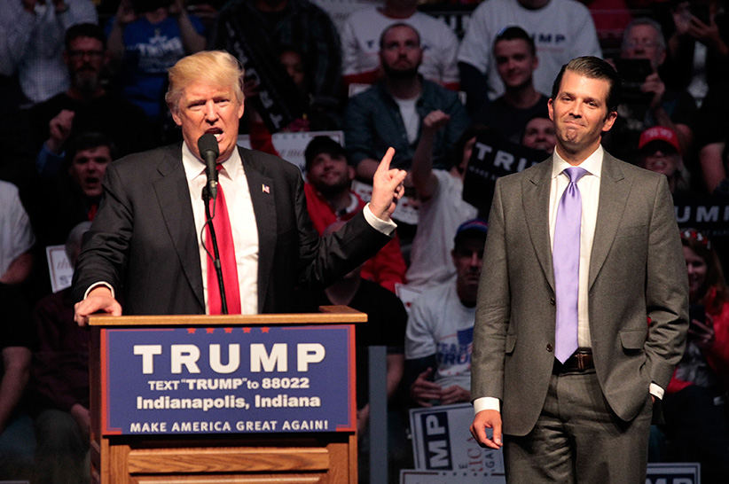 Republican presidential candidate Donald Trump introduces his son Donald Trump Jr. as he addresses the crowd during a campaign rally at the Indiana Farmers Coliseum on April 27, 2016 in Indianapolis, Indiana. (John Sommers II/Getty Images)