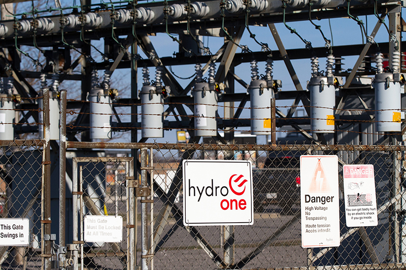 Hydro One transmission station in Napanee, Ont., on April 16, 2016. (Lars Hagberg/CP)