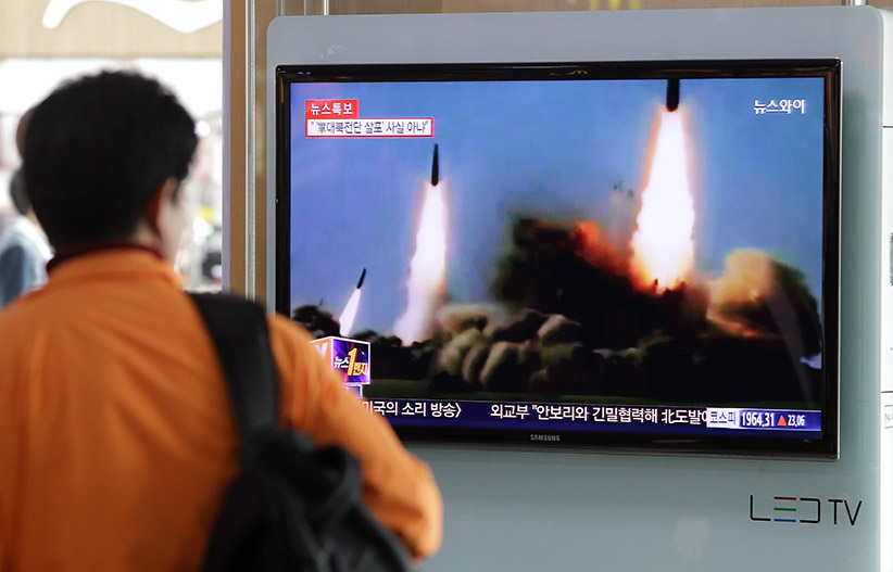 SEOUL, SOUTH KOREA - MARCH 26: A Man watchs a television broadcast reporting the North Korean missile launch at the Seoul Railway Station on March 26, 2014 in Seoul, South Korea. North Korea test-launched two Nodong medium-range ballistic missiles into the sea off Korean peninsula's east coast on Wednesday morning, according to South Korea's defence ministry. Chung Sung-Jun/Getty Images