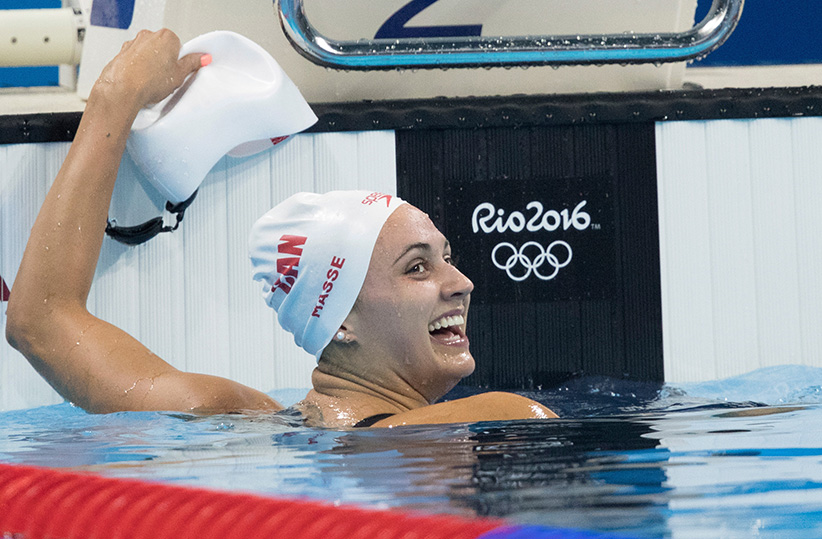 Canada's Kylie Masse celebrates her bronze medal win in the 100m backstroke at the Olympic games in Rio de Janeiro, Brazil on Monday, August 8, 2016. (Jason Ransom/CP)