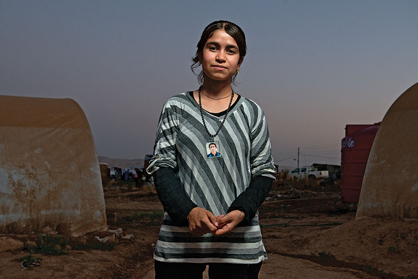 Amira Hussein, at Yazidi refugee camp Khanke outside of Duhok, Iraq, July 26, 2016. (Photograph by Peter Bregg C.M.)