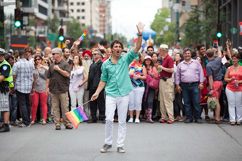 CANADA, Montreal: Prime Minister of Canada Justin Trudeau takes part in Montreal's Pride Parade on August 14, 2016. The parade took place on Rene-Levesque st. A minute of silence was observed in memory of Orlando's shooting victims. (Cristian Mijea/CP)