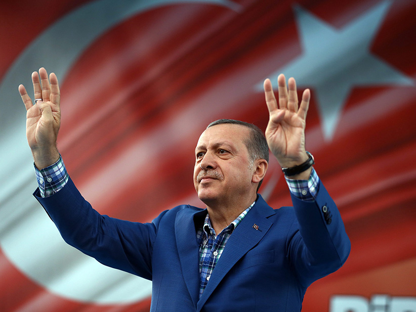 "Turkey's President Recep Tayyip Erdogan addresses a rally in Gaziantep, Turkey, Sunday, Aug. 28, 2016. Erdogan said a 14 year-old suicide bomber was responsible for last weekend's explosion in Gaziantep that claimed dozens lives. Erdogan, speaking at a rally, says the city saw terror's worst when ""DAESH attacked with a suicide bomber,"" using the Arabic acronym for the Islamic State group and adds that 34 children died in the attack. (Yasin Bulbul/AP/CP)"