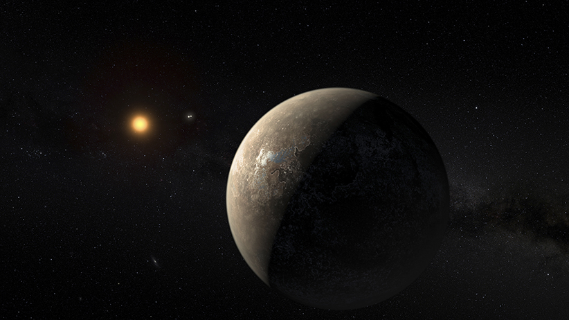 The planet Proxima b orbiting the red dwarf star Proxima Centauri, the closest star to our solar system, is seen in an undated artist's impression released by the European Southern Observatory August 24, 2016. (ESO/M. Kornmesser/Reuters)