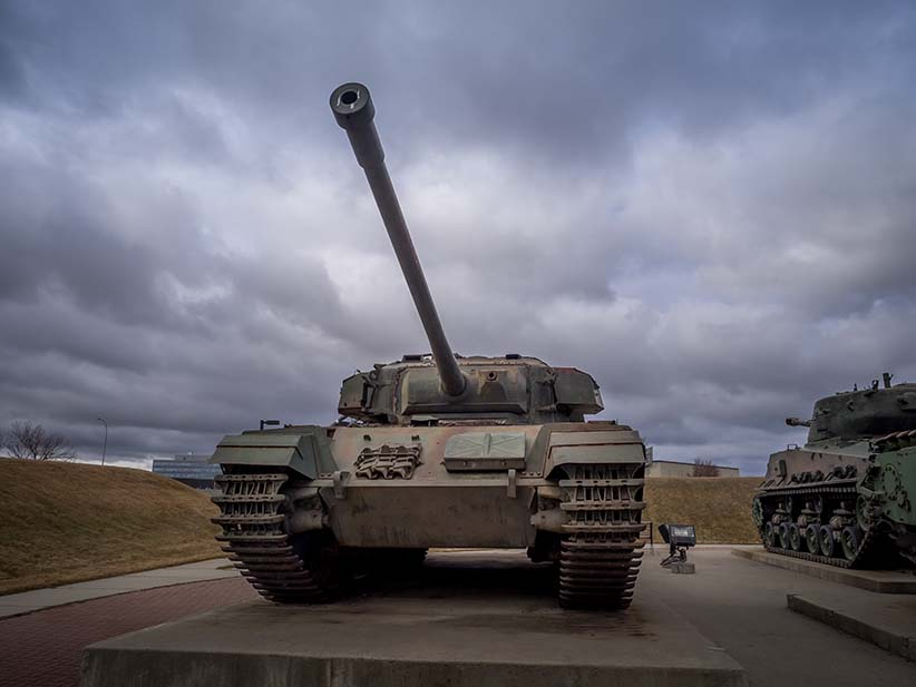 A Canadian tank sits on display as part of a MIlitary museum exhibition in Alberta. (Shutterstock)