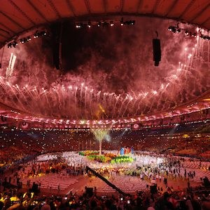 Pyrotechnics explode during the closing ceremony for the Summer Olympic inside Maracana stadium in Rio de Janeiro, Brazil, Sunday, Aug. 21, 2016. (AP Photo/Vincent Thian)