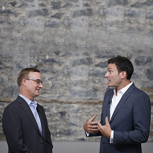 Evan Solomon and John Geddes talk politics at Third Floor York in Ottawa August 18, 2016. Photograph by Blair Gable