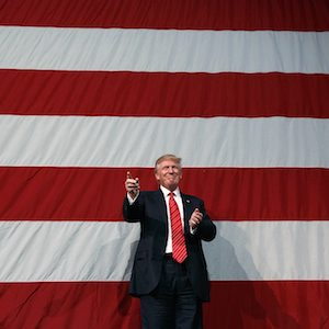 Republican presidential candidate Donald Trump arrives for a campaign rally at Crown Arena, Tuesday, Aug. 9, 2016, in Fayetteville, N.C. (AP Photo/Evan Vucci)