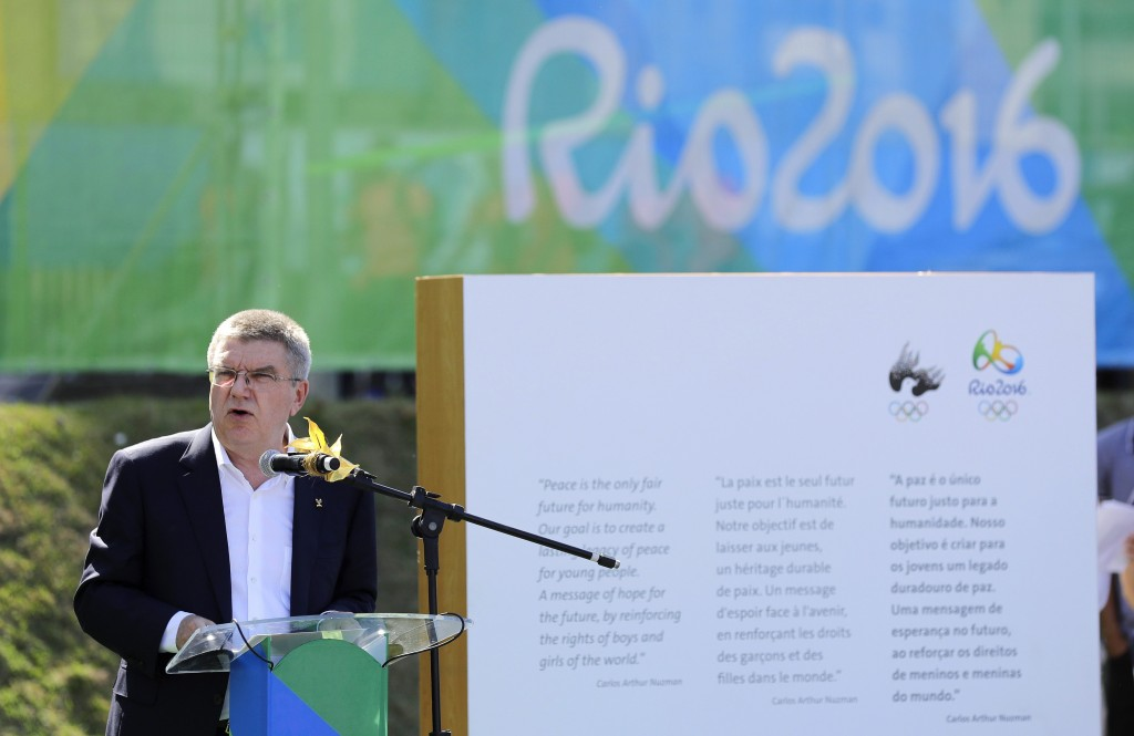 International Olympic Committee President Thomas Bach speaks during an Olympic Truce inauguration ceremony in the athletes village in advance of the 2016 Olympic Games in Rio de Janeiro, Brazil, Monday, Aug. 1, 2016. (AP Photo/Patrick Semansky, Pool)
