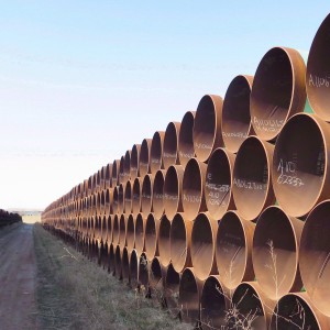 A yard in Gascoyne, ND., which has hundreds of kilometres of pipes stacked inside it that are supposed to go into the Keystone XL pipeline, is shown on Wednesday April 22, 2015. (Alex Panetta/CP)