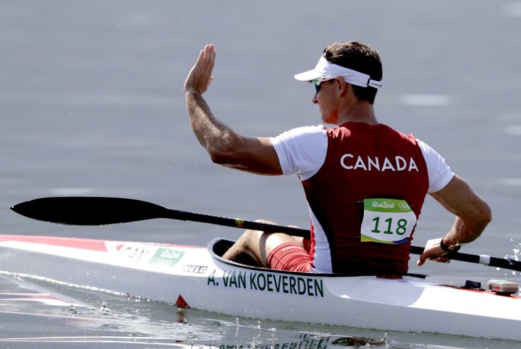 Canada's Adam Van Koeverden waves after the men's kayak single 1000m heat during the 2016 Summer Olympics in Rio de Janeiro, Brazil, Monday, Aug. 15, 2016. (AP Photo/Luca Bruno)