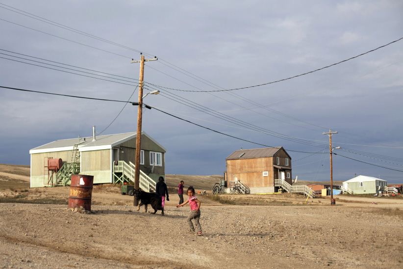 Main Street of the hamlet of Sachs Harbour on Banks Island in the Northwest Territories. (Erika Larsen/Redux)