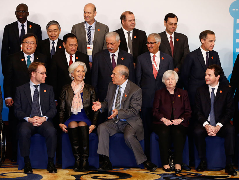 Officials take their positions a family photo of G20 Finance Ministers and Central Bank Governors Meeting at the Pudong Shangri-la Hotel on February 27, 2016 in Shanghai, China. Finance officials from G20 member countries are meeting in Shanghai from 26 to 27 February, aiming to formulate reforms for economic growth and strengthen cooperation. (Front L-R) Germany's Federal Bundesbank Jens Weidmann, International Monetary Fund Managing Director Christine Lagarde, Organization for Economic Co-operation and Development (OECD) Secretary General Jose Angel Gurria, US Federal Reserve Board Chair Janet Yellen and British Chancellor of the Exchequer George Osborne. (Second row L-R) Indonesian Finance Minister Bambang Brodjonegoro, Bank of Indonesia Governor Agus Martowardojo, Saudi Arabia Finance Minister Ibrahim Abdulaziz Alassaf, Saudi Arabian Monetary Agency Governor Fahad Abdullah A. Almubarak and Bank of England Governor Mark Carney. (Third row L-R) Unidentified official, Bank of Japan Governor Haruhiko Kuroda, Banco Central de la Republica Argentina President Federico Sturzenegger, Central Bank of Brazil President Alexandre Tombini and Bank for International Settlements General Manager Jaime Caruana. (Rolex dela Pena/Getty Images)