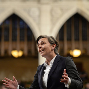 Kellie Leitch rises during question period in the House of Commons in Ottawa. (Justin Tang/CP)