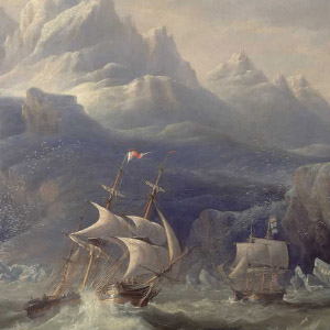HMS Erebus and Terror in the Antarctic. (John Wilson Carmichael/National Maritime Museum)