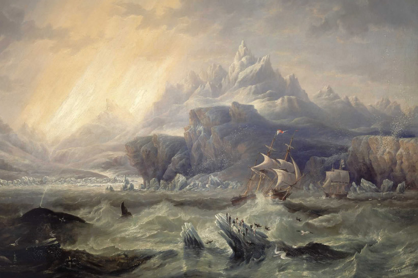 HMS Erebus and Terror in the Antarctic. (John Wilson Carmichael/National Maritime Museum)