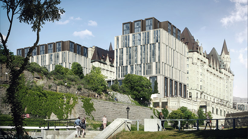 Chateau Laurier hotel addition rendering. (Peter Clewes/architectsAlliance)