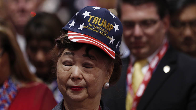 "A delegate wears a ""Trump for President 2016"" hat during the third day of the Republican National Convention in Cleveland, Ohio, U.S. July 20, 2016. (Mark Kauzlarich/Reuters)"