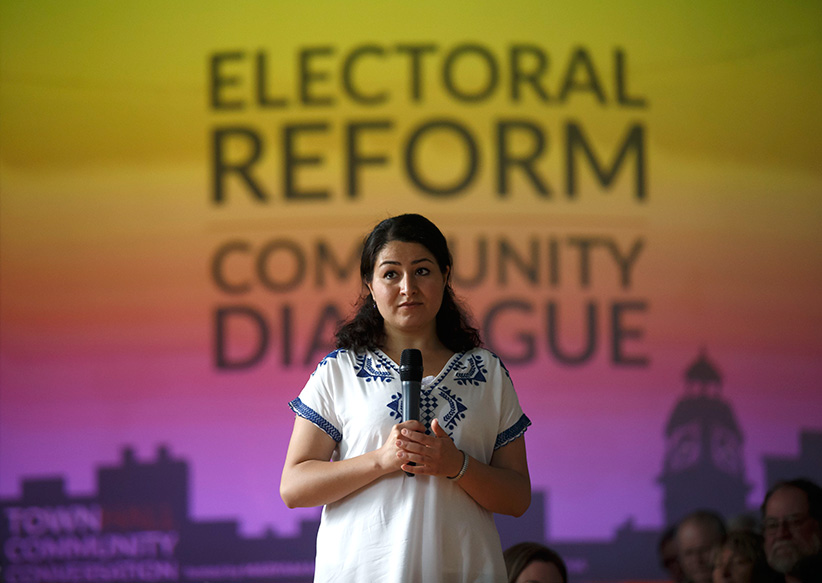 Maryam Monsef at a town hall meeting at Mount Community Centre on Tuesday, September 6, 2016 for a meeting on electoral reform. (Photograph by Cole Burston)