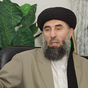 Gulbuddin Hekmatyar, a former Afghan warlord in exile in Iran, speaks during an interview with the AFP in Tehran October 17, 2001.  (Atta Kenare/AFP/Getty Images)