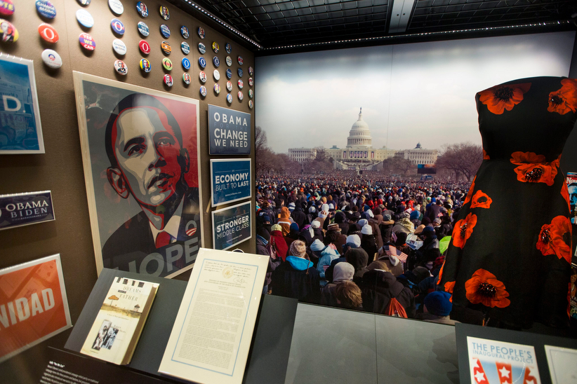 An exhibit on the inauguration of President Barack Obama, shown on display at The National Museum of African American History and Culture during a media preview of the museum in Washington, DC, USA, 14 September 2016. The 400,000-square-foot museum is a Smithsonian Institution museum and will open its doors to the public on 24 September. (Jim Lo Scalzo/EPA)