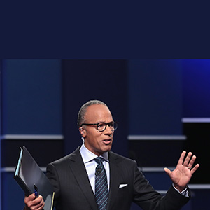 Moderator Lester Holt speaks ahead of the Presidential Debate at Hofstra University on September 26, 2016 in Hempstead, New York.  The first of four debates for the 2016 Election, three Presidential and one Vice Presidential, is moderated by NBC's Lester Holt.  (Drew Angerer/Getty Images)