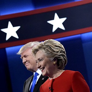 Republican presidential nominee Donald Trump(L) and Democratic presidential nominee Hillary Clinton arrive on stage for the first presidential debate at Hofstra University in Hempstead, New York on September 26, 2016. (Mandel Ngan/AFP/Getty Images)