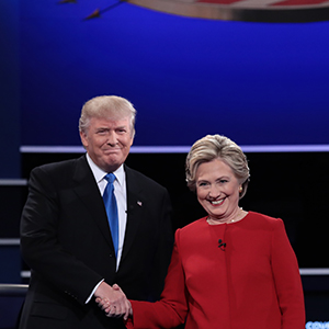 (L-R) Republican presidential nominee Donald Trump and Democratic presidential nominee Hillary Clinton shake hands prior to the start of the Presidential Debate at Hofstra University on September 26, 2016 in Hempstead, New York.  The first of four debates for the 2016 Election, three Presidential and one Vice Presidential, is moderated by NBC's Lester Holt. (Drew Angerer/Getty Images)