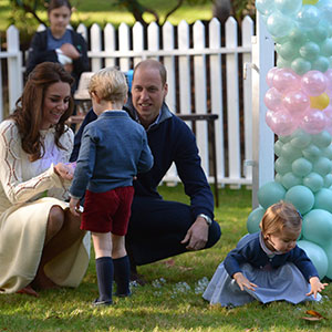 Prince William, and his wife Kate, the Duke and Duchess of Cambridge, take part in a tea party with their children Prince George and Princess Charlotte at Government House in Victoria, Thursday, Sept. 29, 2016. (Jonathan Hayward/CP)