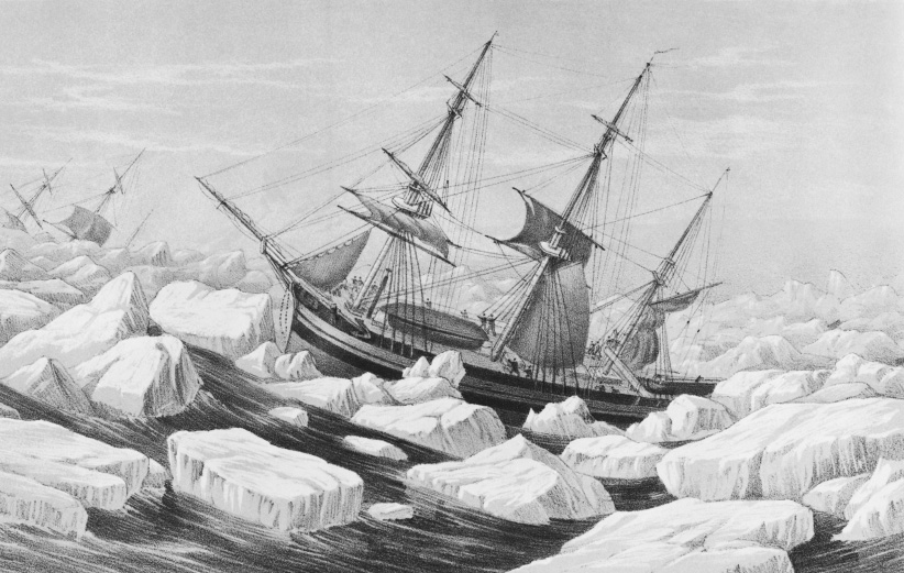 Illustration of the HMS Erebus and HMS Terror stuck in the ice pack. (Getty)