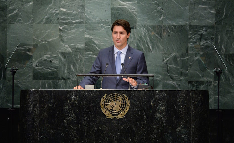 Prime Minister Justin Trudeau delivers a speech at the General Debate of the 71st Session of the UN General Assembly at the United Nations headquarters in New York on Tuesday, Sept. 20, 2016. THE CANADIAN PRESS/Sean Kilpatrick