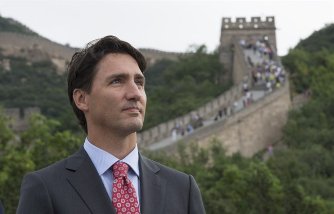 Canadian Prime Minister Justin Trudeau looks on as he takes in a view of the Great Wall of China, in Beijing on Thursday, September 1, 2016. (Adrian Wyld/CP)