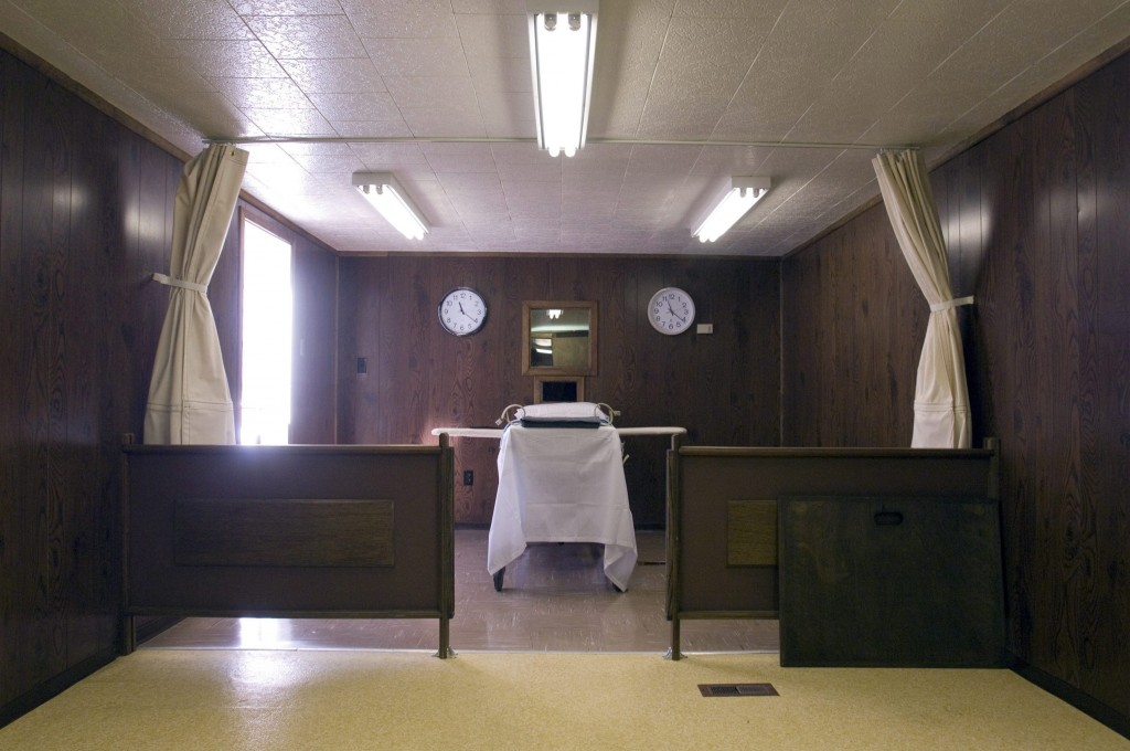 This July 18, 2006 file photo shows the Montana State Prison execution chamber in Deer Lodge, Mont. (Stephen Brashear/The Billings Gazette via AP, File)