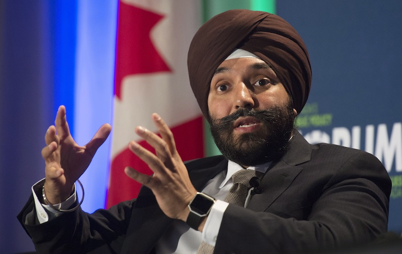 Innovation, Science and Economic Development Minister Navdeep Singh Bains responds to a question from the floor during a policy conference in Ottawa, Wednesday October 12, 2016. THE CANADIAN PRESS/Adrian Wyld