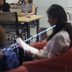 At the Creative Destruction Lab, inside the Rotman School of Management, MBA and PHDs are going through student applications to enter the Creative Destruction Lab. (Photograph by Jessica Darmanin)