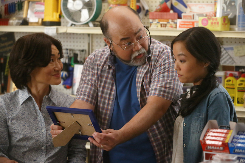 Jean Yoon (Umma), Paul Sun-Hyung Lee (Appa) and Andrea Bang (Janet) in a still from an episode of Kim's Convenience. (Handout/CBC)