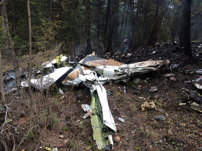 A wing is pictured amongst the wreckage of a Cessna Citation which crashed on October 13, 2016, seen in the woods near Lake Country, B.C., in this October 15, 2016, Transportation Safety Board handout image. (HO-TSB/CP)