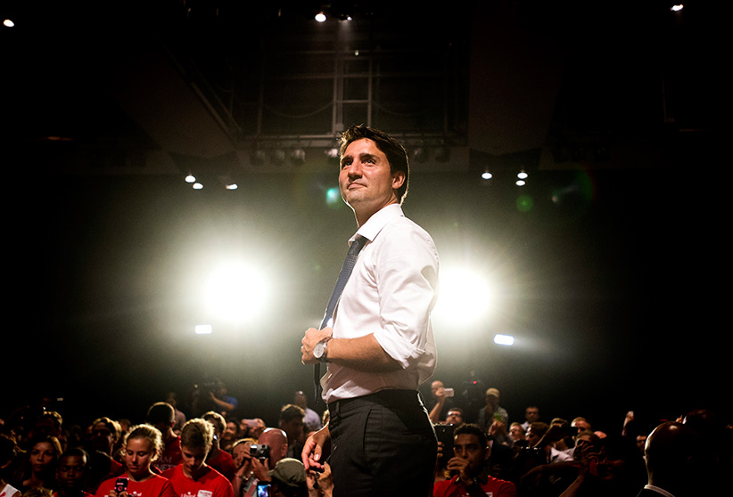 Liberal Leader Justin Trudeau speaks to supporters during a campaign stop in Toronto on Monday, August 17, 2015. (Darren Calabrese/CP)
