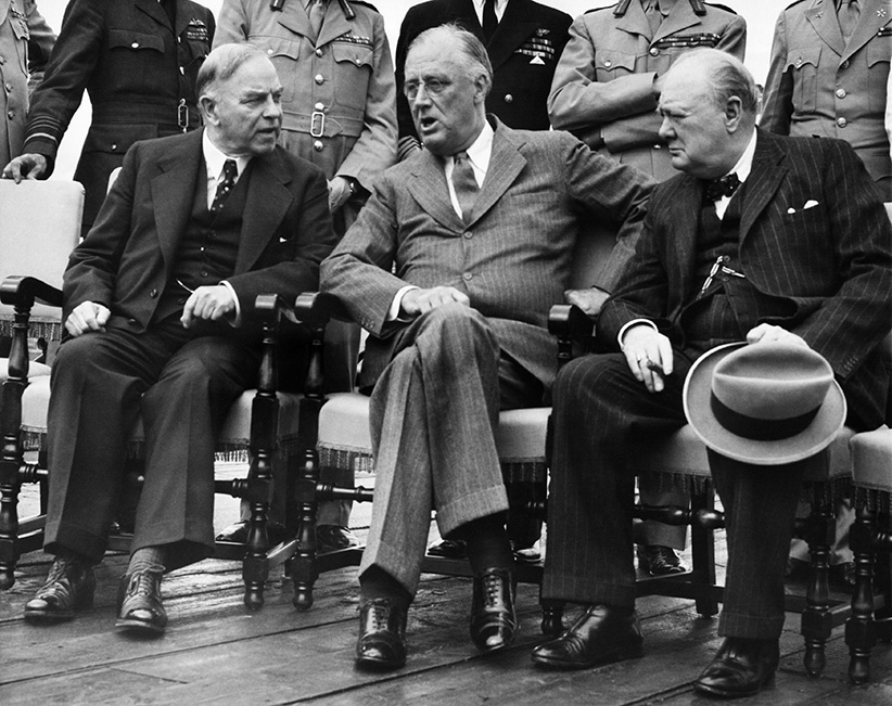World War II. From left: Canadian Prime Minister W.L. Mackenzie King, US President Franklin Delano Roosevelt, British Prime Minister Winston Churchill at the Second Quebec Conference, (codenamed OCTAGON), Quebec City, Canada, September 1944. (Everett Collection)