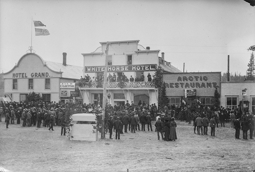 The Arctic Restaurant and Hotel, seen here on the right in a photo in Whitehorse, Yukon, ca. 1899 (Provincial Archives of Alberta)
