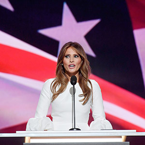 Melania Trump, wife of Republican presidential nominee Donald Trump, delivers a speech on the first day of the Republican National Convention on July 18, 2016 at the Quicken Loans Arena in Cleveland, Ohio. (IBL/REX/Shutterstock) Melania Trump Republican National Convention, Cleveland, USA - 18 Jul 2016
