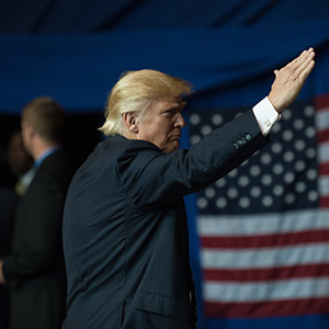 CANTON, OH - SEPTEMBER 14: Republican Presidential candidate Donald Trump greets supporters during a campaign rally at the Canton Memorial Civic Center on September 14, 2016 in Canton, Ohio. Recent polls show Trump with a slight lead over Democratic candidate Hillary Clinton in Ohio, a key battleground state in the 2016 election. (Jeff Swensen/Getty Images)