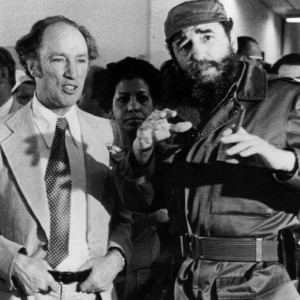 Prime Minister Pierre Trudeau with Cuban President Fidel Castro during a visit in Havana on Jan. 27, 1976. (Fred Chartrand/CP)