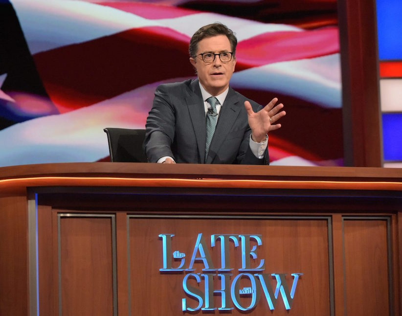 "In this July 27, 2016 photo released by CBS, Stephen Colbert, host of ""The Late Show with Stephen Colbert,"" appears during a broadcast in New York. (Scott Kowalchyk/CBS via AP)"
